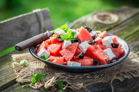 Delicious watermelon salad with feta cheese and black olives
