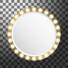 Circle mirror with light bulbs, vector illustration isolated on transparent background