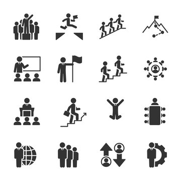 Vector set of leadership icons.