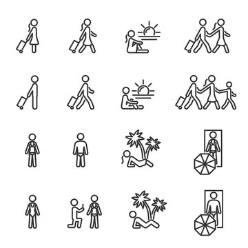 Vector set of people on summer vacation line icons.