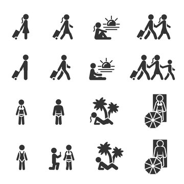 Vector set of people on summer vacation icons.