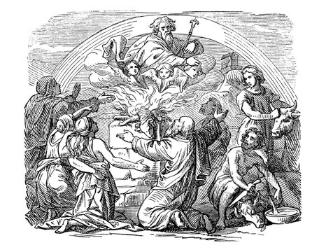 Vintage antique illustration and line drawing or engraving of biblical Noe and his sons sacrificing animals.From Biblische Geschichte des alten und neuen Testaments, Germany 1859. Genesis 8:20
