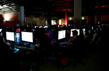 Gamers play during the Electronic Sports Festival, Austria's largest LAN Party in Vienna