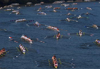Crews gather at the start of the Head of the River Race, an annual rowing race dating back to 1926 where several hundred British and international rowing crews compete to be the fastest over a 4.25 mile (6.8 kilometre) course along the River Thames in Lond