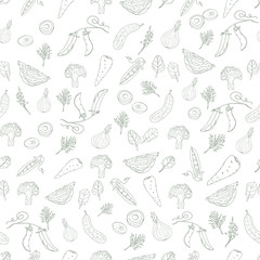 Vegetables seamless pattern with black outline on a white background. Vector