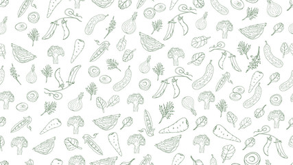 Vegetables seamless pattern, graphics on white background. Vector