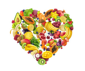Heart shape made of different fruits and berries, isolated on white background, heart symbol, diet...
