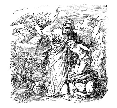 Vintage antique illustration and line drawing or engraving of biblical story about Abraham going to sacrifice his only son Isaac, but s stopped by Angel.From Biblische Geschichte des alten und neuen