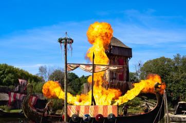Les Epesses, France - September 8, 2018 : Vikings show from Puy du fou where Vikings longship is set on fire