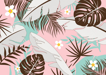 Wall Mural - Tropical leaves background vector illustration