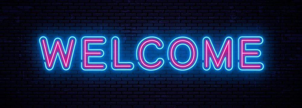 Beautiful vector neon inscription welcome