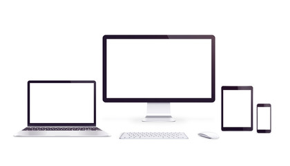 Isolated responsive devices with blank displays for app or web page promotion.