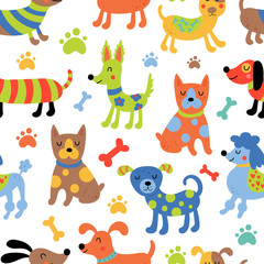 Seamless pattern with cute dogs.