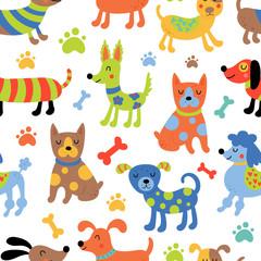 Modèle sans couture avec des chiens mignons.
