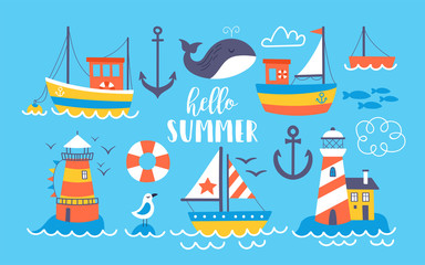 Cute boats and lighthouse summer set.