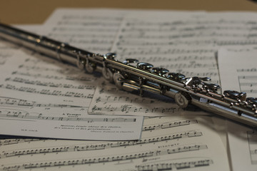 flute with sheet music