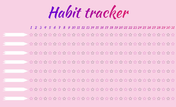 Tracker habits. For one month. 8 habits. Pink background