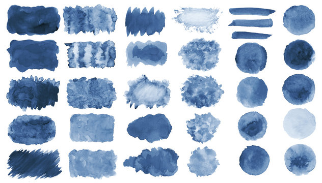 Collection of hand-made blue watercolor painted brushes, smears, blobs, stains, circles, stripes, stickers, spot, blots, slick, web buttons, patch backgrounds creative decorative elements Isolated