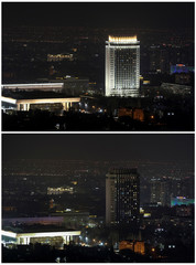 """A combination of photos shows the hotel """"Kazakhstan"""" before and during Earth Hour in Almaty"""
