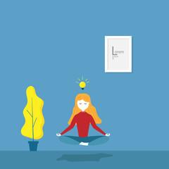 girl practices meditation yoga
