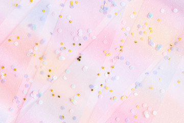 Unicorn festive background. Party, birthday, wedding, holiday concept. Flat lay, top view, copy...