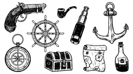 Pirate object vector tattoo by hand drawing.Beautiful picture on white background.Black and white graphics design art highly detailed in line art style.