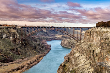 Classic view of the iconic Perrine bridge with the Snake River flowing beneath
