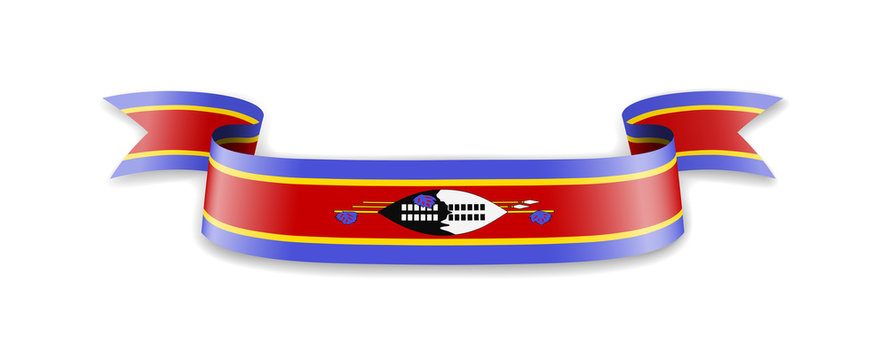 Eswatini flag in the form of wave ribbon.