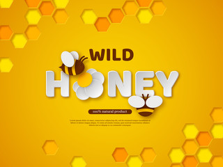 Paper cut style bee with honeycombs. Typographic design for beekeeping and honey product. Orange background, vector illustration.