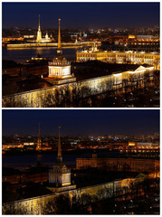 A combination photo shows the Admiralty building, the Peter and Paul cathedral and the State Hermitage museum before and during Earth Hour in St. Petersburg
