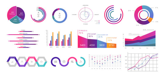 Obraz Editable Infographic Templates. Use in corporate report, marketing, annual report. Network management data screen with charts, diagrams. Hud vector interface - fototapety do salonu