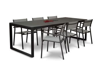 garden dining table with chairs on a white background