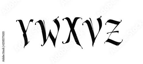 The letters Y, W, X, V,Z in the Gothic style  Vector  Signs