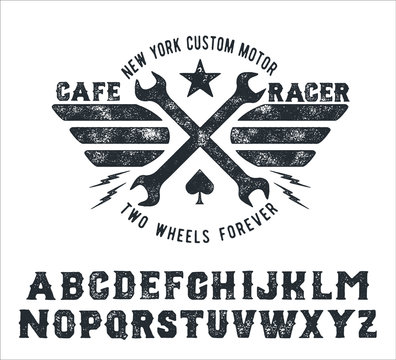 Cafe Racer. Handmade serif font. Vintage typeface. Custom motor. Handmade logo and font. Retro American stile.