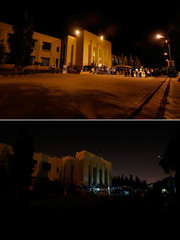 A combination of photos shows the Provincial Assembly of Sindh, before (top) and after the lights were turned off for Earth Hour in Karachi