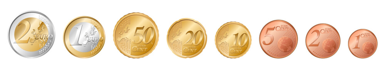 set of all euro coins Fototapete