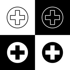 Flat monochrome medical cross icon set for web sites and apps. Minimal simple black and white medical cross icon set. Isolated vector medical cross icon set for various projects.