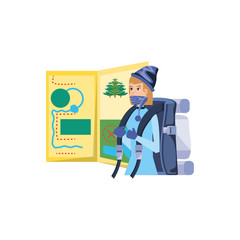 Poster Superheroes traveler woman with travel bag and map guide