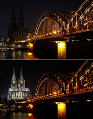 A combination of photos shows the UNESCO World Heritage Cologne Cathedral and the Hohenzollern railway bridge along the river Rhine are seen before and during during Earth Hour