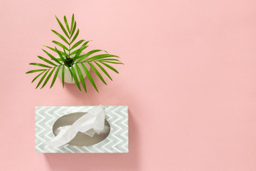 Tissue box and palm leaves on pink background