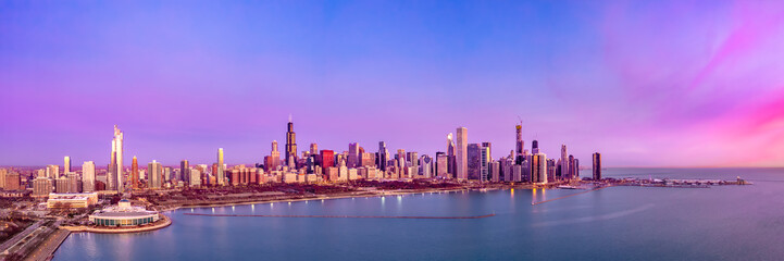 Chicago Skyline Aerial Sunrise Sunset Cityscape Panorama
