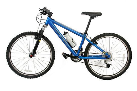 bicicleta de montaña azul, aislada en blanco