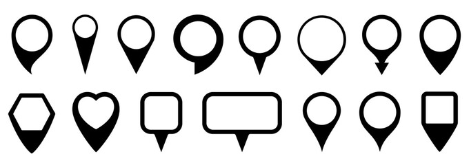 Set pin map marker pointer icon, GPS location flat symbol – vector for stock