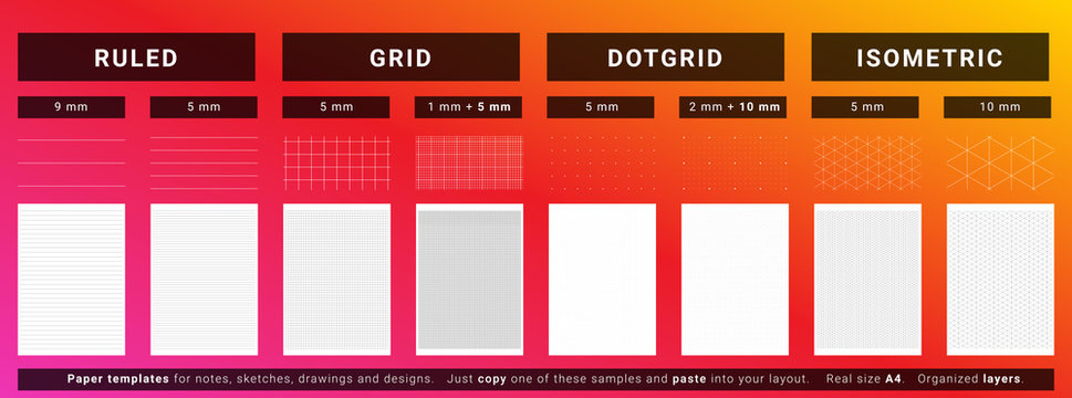 Gridded paper templates set for new designs