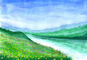 Spring landscape. river among the flowery meadows in watercolor