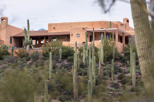 Classic southwestern country house surrounded by saguaro cactus in desert