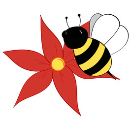 Bumble Bee and Red Flower