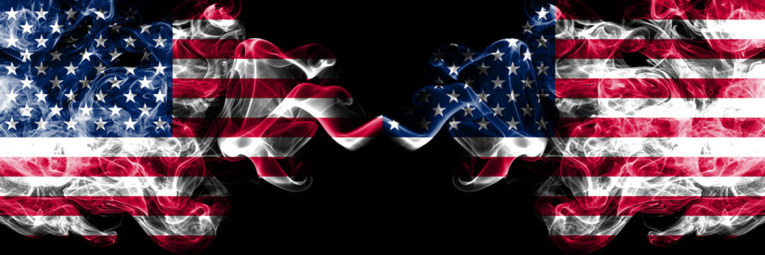 United States of America vs United States of America, American smoky mystic flags placed side by side. Thick colored silky smoke flags of America and United States of America, American