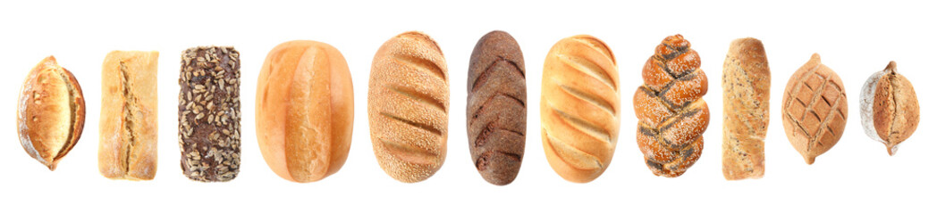 Foto auf Acrylglas Brot Set of fresh bread on white background, top view