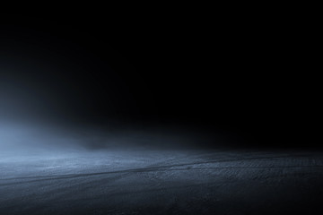 Fototapeta Asphalt surface, racetrack of fog on a black background obraz